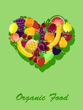 Abstract background with a heart-shaped fruits Vector