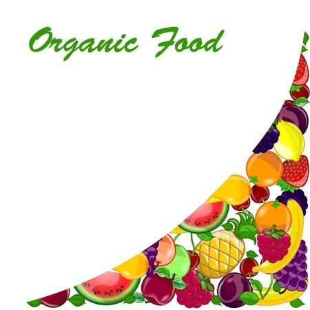 limon caricatura: Resumen de fondo con una variedad de frutas