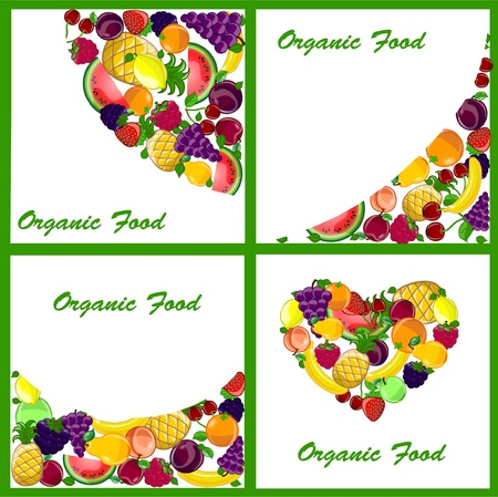 Set of 4 backgrounds with a variety of fruits Vector