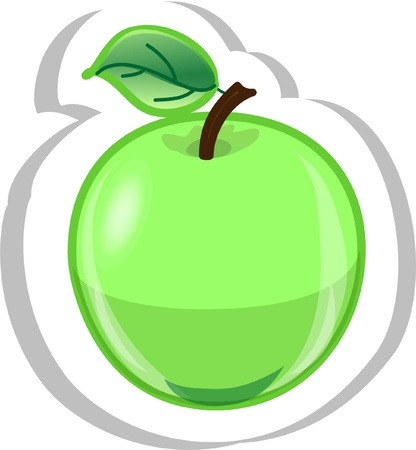 apple slice: Cartoon apple  Illustration