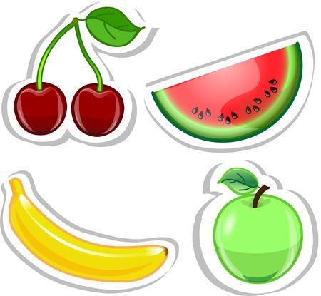 Cartoon banana, cherry, watermelon, apple