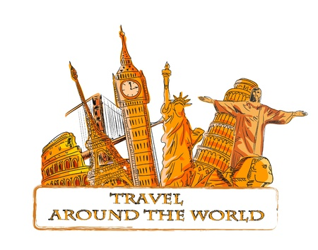 cheops: Travel around the world, background  Illustration