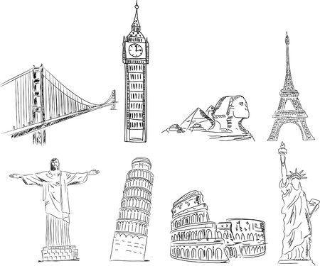 Set sketches points of interest of the world