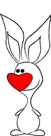 fly cartoon: cute rabbit with a bow in the shape of hearts  Illustration