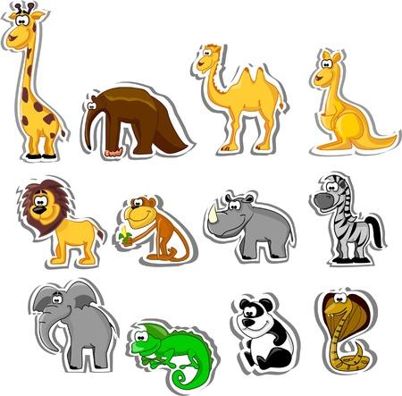 chameleon lizard: Big set di animali dei cartoni animati Vettoriali