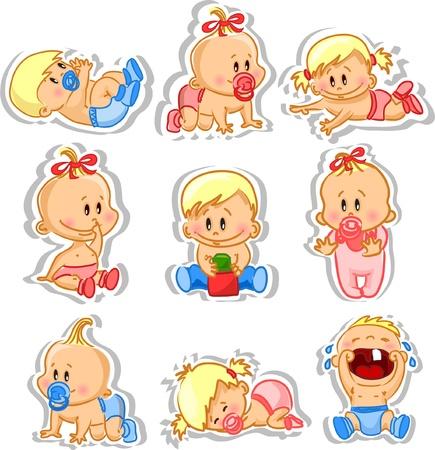 ni�o llorando: Ilustraci�n vectorial de los beb�s varones y las ni�as beb�s
