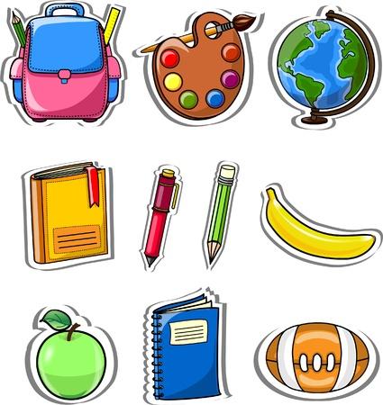 school bag: Cartoon school bag, pencil, book Illustration