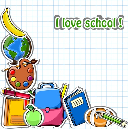 school bag: School background, vector drawing  Illustration