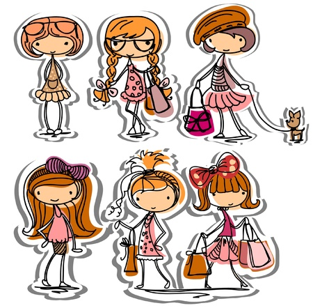 Cartoon fashionable girls  Illustration