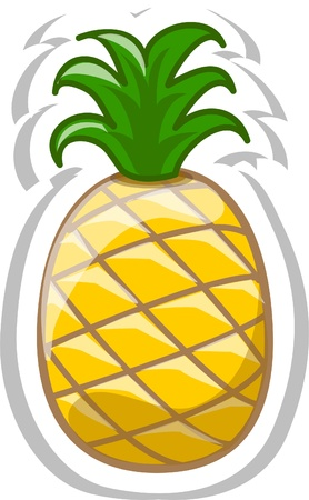 pineapple juice: Cartoon pineapple  Illustration