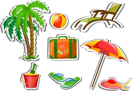 spanking: Travel icons, palm, ball, lounge, umbrella Illustration