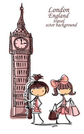 city of london: Fashion Cartoon Girl travels the world