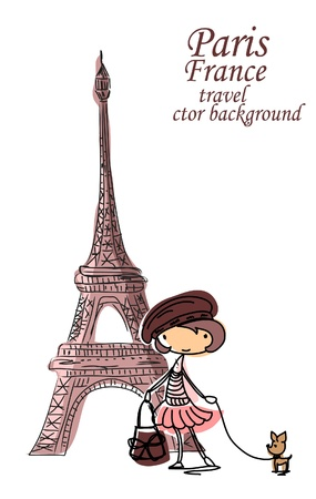 eiffel tower: Fashion Girl dibujos animados viaja por el mundo Vectores