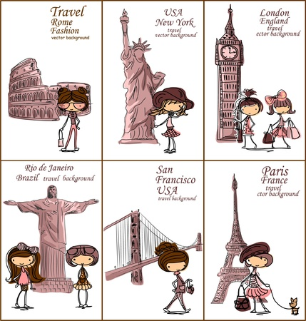big ben tower: Fashion Cartoon Girl travels the world