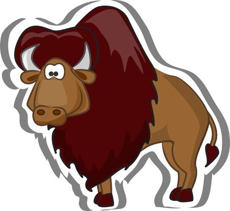 musk: Cute cartoon bison