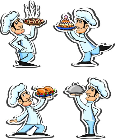 Set cartoon chefs  Vector