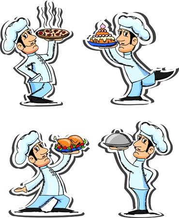 lunch tray: Set cartoon chefs