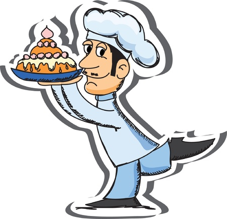 Cartoon chef with cake  Vector