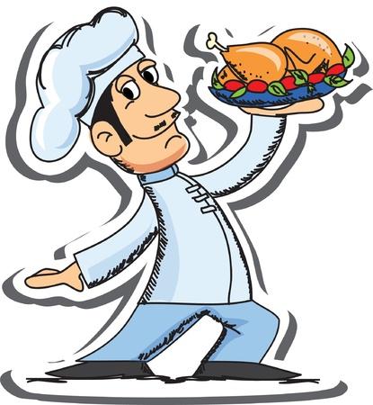 chef caricatura: Caricatura Chef con pollo