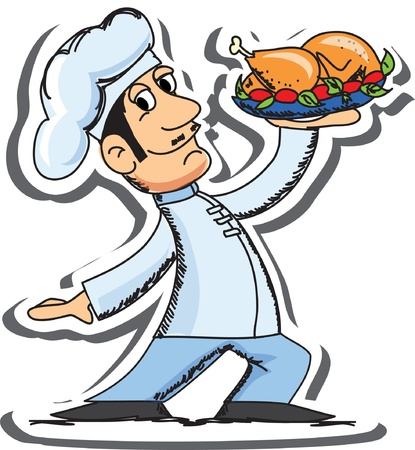 Cartoon chef with chicken Vector