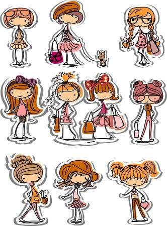 Cartoon modieuze meisjes