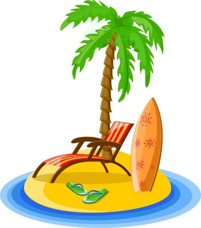 Travel background, palm, lounge, flip-flops Vector