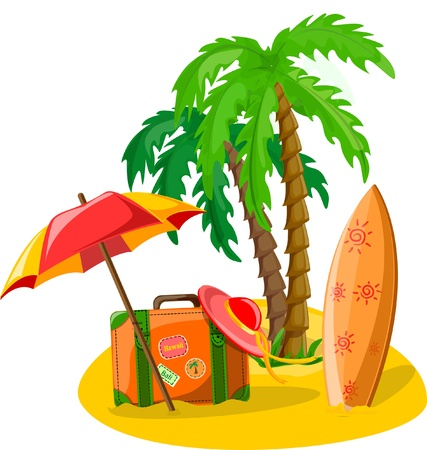Travel background, palm, lounge, flip-flops Vector