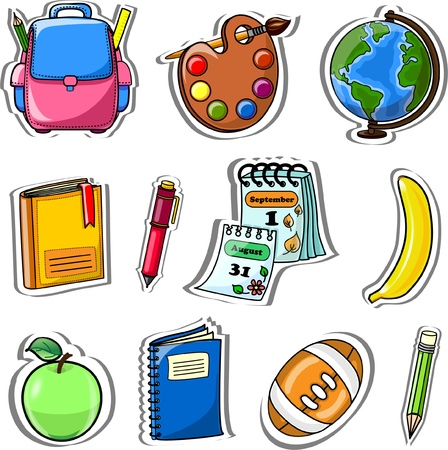 calendario escolar: Cartoon mochila, l�piz, libro, cuaderno Vectores