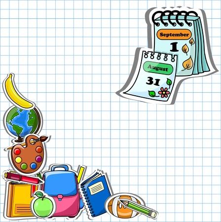 calendario escolar: Fondo de la escuela, de dibujo vectorial