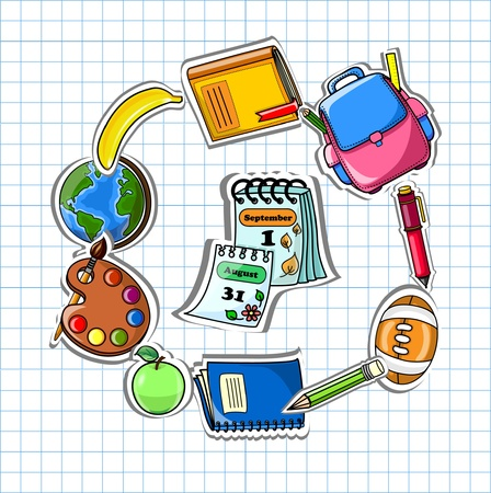 backpack: School background, vector drawing  Illustration