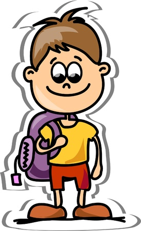 Cartoon cute schoolboy Stock Vector - 13410299