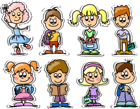 Cartoon cute schoolboys and schoolgirls  Vector