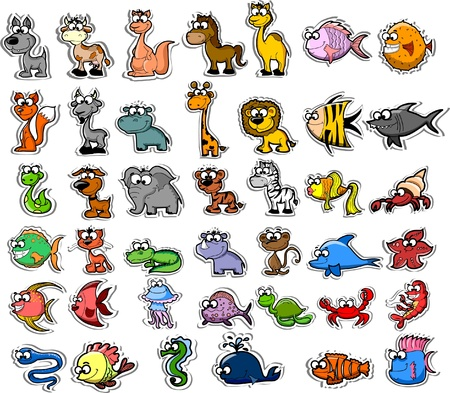 drawing an animal: Big set of cartoon animals and fishes