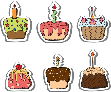 bright card: Cartoon cupcakes
