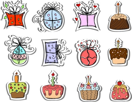 christmas cake: Birthday gifts and cupcakes  Illustration