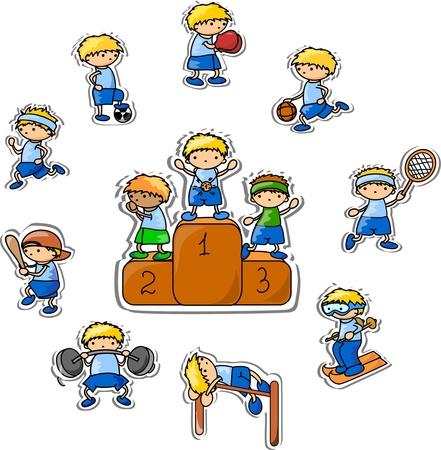 deportes caricatura: de dibujos animados icono del deporte Vectores