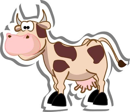 vaca caricatura: Cartoon vaca Vectores