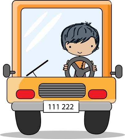 truck driver: Cartoon driver