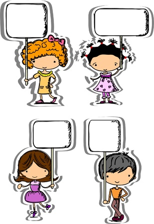 Cute children hold frames Vector