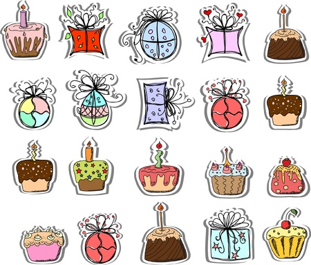 party streamers: Birthday gifts and cupcakes  Illustration