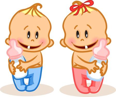 wenen: Vector illustratie van de baby jongen en baby meisje