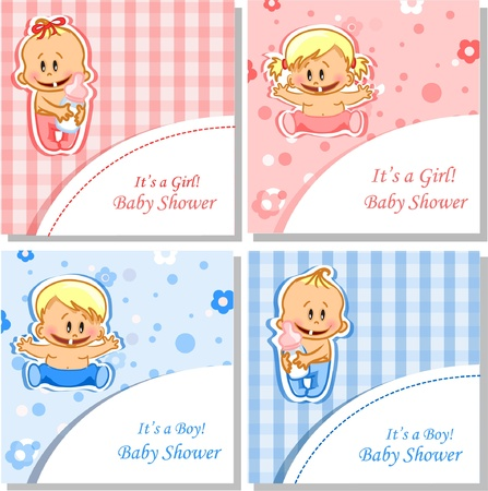 infants: Vector illustration of baby boys and baby girls Illustration