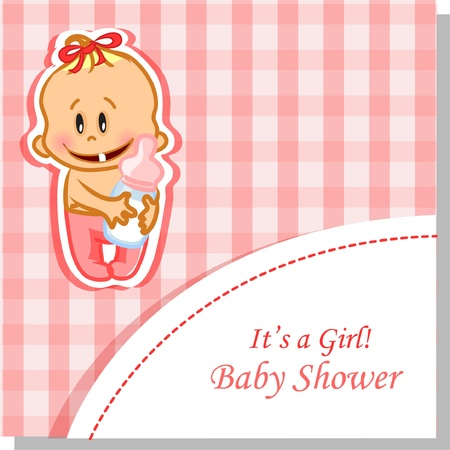 Vector illustration of baby girl, background  Vector
