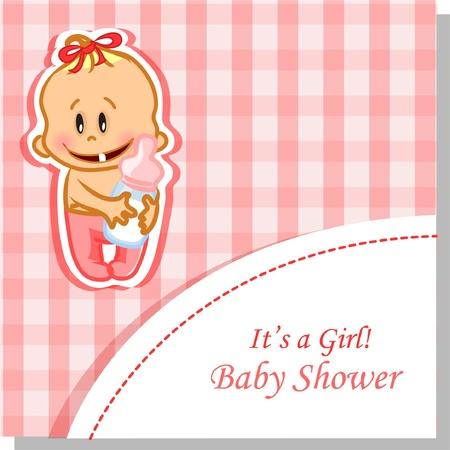 promenade: Vector illustration of baby girl, background  Illustration