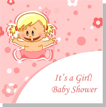 Vector illustration of baby girl, background  Stock Vector - 13654314