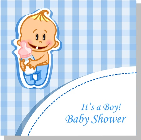 Vector illustration of baby boy, background  Vector