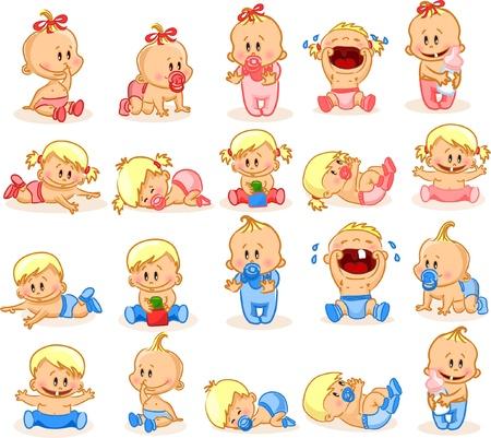 Vektor-Illustration von Baby Jungen und Mädchen im Babyalter