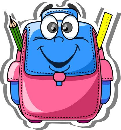 Cartoon school tas, potlood, boek, laptop, pen