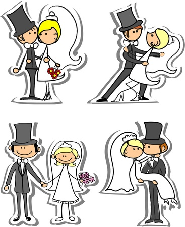 kiss couple: Set of wedding pictures, bride and groom in love Illustration