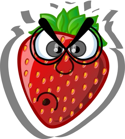frutas divertidas: Caricatura de fresa Vectores